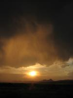 Sunset in the rainclouds on my return from Little Wild Horse Canyon