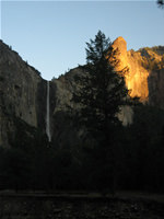 Sunset over the Bridalveil Falls