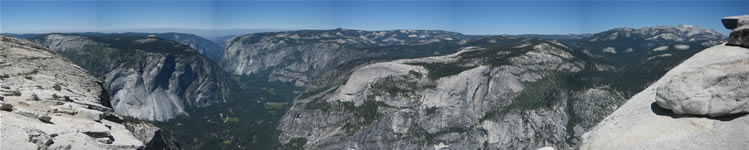 Panoramic view of Yosemite Valley from Half Dome